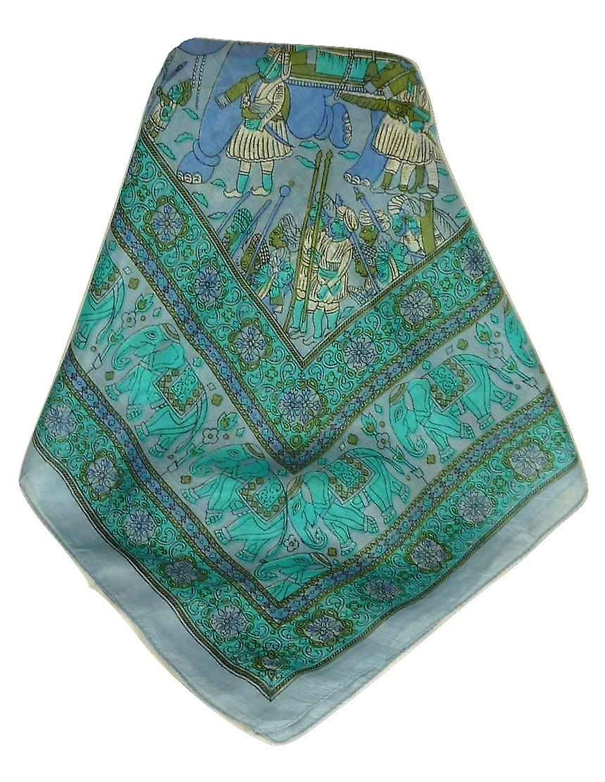 Mulberry Silk Traditional Square Scarf Usman Light Blue by Pashmina & Silk
