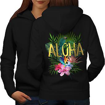 Hawaii Aloha Parrot Women BlackHoodie Back | Wellcoda