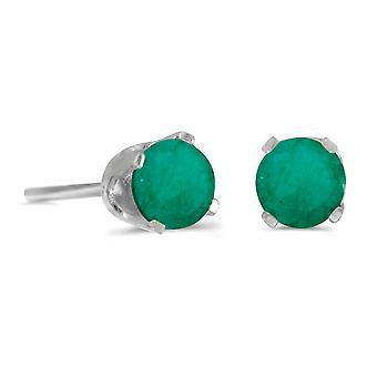 LXR 14k Valkoinen Kulta 4mm Pyöreä Smaragdi plug korvakorut 0.38ct