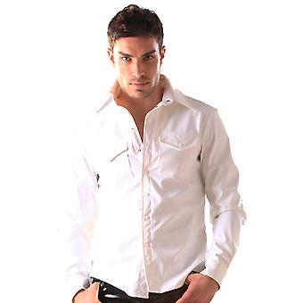 Skin Two Clothing Men's Sexy PVC Smart Shirt Collar & Cuffs Costume White