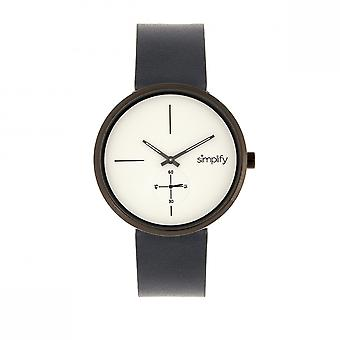 Simplify The 4400 Leather-Band Watch - Navy/Gunmetal