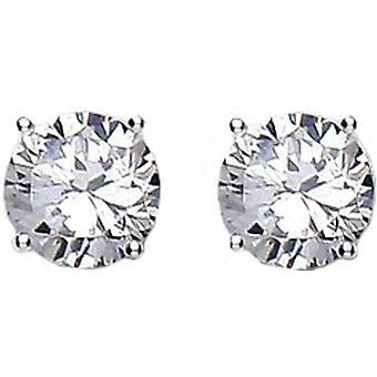 Bella 8mm Cubic Zirconia Stud Earrings - Silver/White