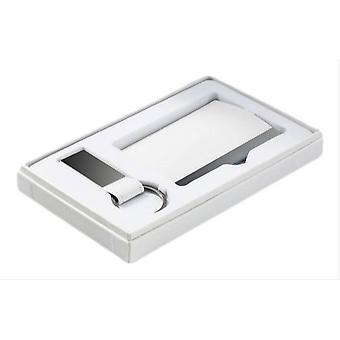 David Van Hagen PU Business Card Case and Keyring Set - White
