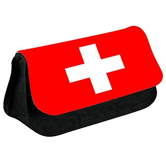 Switzerland Flag Printed Design Pencil Case for Stationary/Cosmetic - 0170 (Black) by i-Tronixs