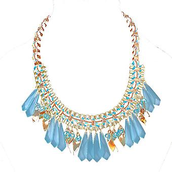 Ladies colourful droplets style jewel statement swarovski crystal necklace