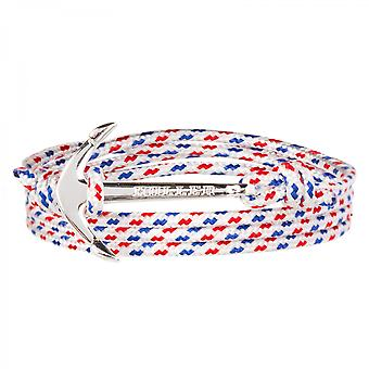 Holler Mosley Silver Polished Anchor/Weiß, Blau und Rotes Paracord Armband HLB-02SRP-P01