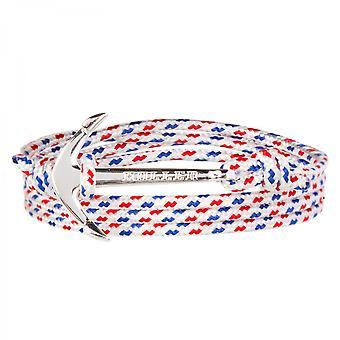 Rope Mosley Silver polert Anchor/hvit, blå og rød Paracord armbånd HLB-02SRP-p01