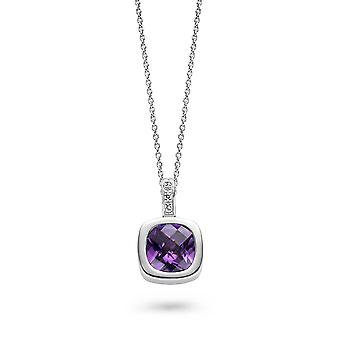 PENDANT WITH CHAIN SQUARE 925 SILVER AMETHYST ZIRCONIUM