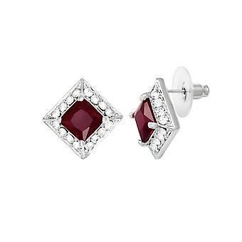 Ewige Sammlung Pracht Ruby Crystal & Diamante Stud Silberfarbe Gestüt Ohrstecker