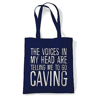 Voices In My Head Caving, Tote - Reusable Shopping Canvas Bag Gift