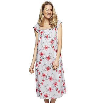 Cyberjammies 1326 Women's Nora Rose Nancy Grey Mix Floral Cotton Long Nightdress