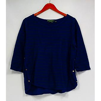 C. Wonder Top French Terry 3/4 Sleeve Striped Shirt Blue A279720