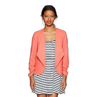 XOXO Women's Linen Rouched Sleeve Jacket, Sm, Medium