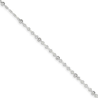 925 Sterling Silver Spring Ring With 1inch Ext. Anklet 10 Inch Jewelry Gifts for Women - 2.5 Grams