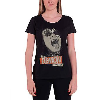 KISS T Shirt The Demon Rock God Gene Simmons Official Womens Skinny Fit Black