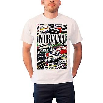 Nirvana T Shirt Cassettes Band Logo Nervermind In Utero Official Mens New White