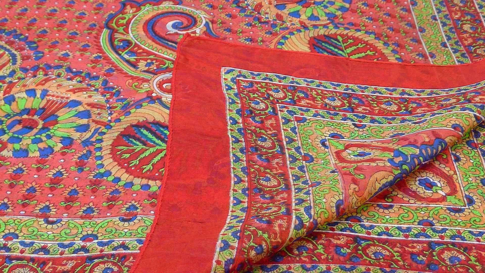 Mulberry Silk Traditional Square Scarf Osh Scarlet by Pashmina & Silk