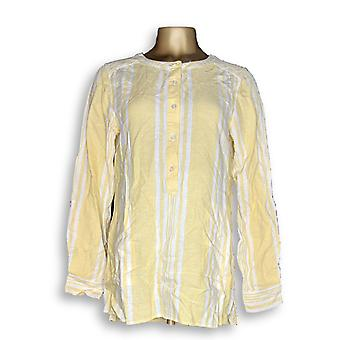 Denim & Co. Women's Top Striped Yarn Dyed Woven Yellow A275870