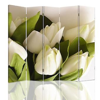 Divisor de quarto, 5 painéis, dupla face, lona, tulipas brancas 2