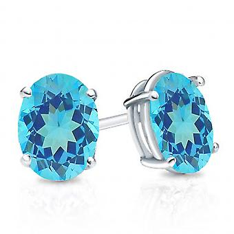 Dazzlingrock Collection 6x4 mm each Oval Cut Blue Topaz Ladies Solitaire Stud Earrings, Sterling Silver
