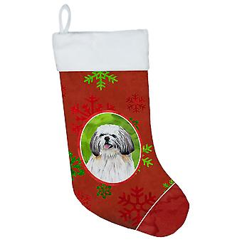 Shih Tzu Red and Green Snowflakes Holiday Christmas Christmas Stocking SC9423