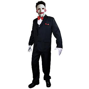 Billy Puppet Saw Deluxe Jigsaw Killer Horror Movie Halloween Mens Costume & Mask