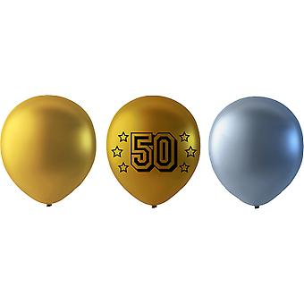 50 year Balloons mix Gold/Silver
