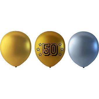 50 ans Ballons mélange Or / Argent