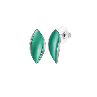 Eternal Collection Haven Green Enamel Silver Tone Stud Pierced Earrings