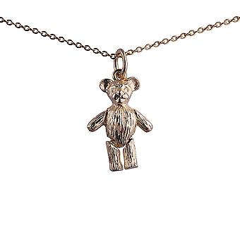 9ct Gold 19x13mm moveable Teddy Bear Pendant with a 1.1mm wide cable Chain 20 inches