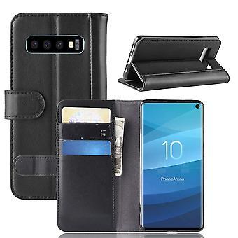Samsung Galaxy S10 tapauksessa musta aito nahka lompakko kansi