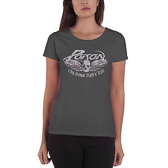 Poison T Shirt Old School band logo new Official Womens Skinny Fit Dark Grey