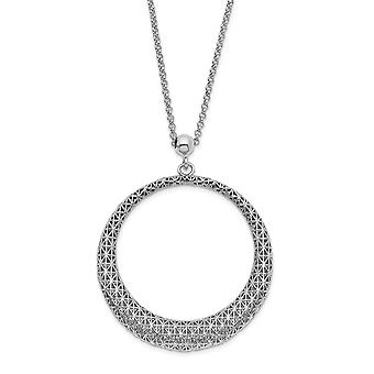 925 Sterling Silver Polished Sparkle Cut Circle Pendant Necklace 2inch Ext 19.5 Inch Jewelry Gifts for Women