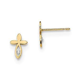 6.25 mm 14k מאדי K הילדים CZ מעוקב מדומה יהלום היהלומים אמונה דתית לחצות עגילים תכשיטים מתנות לנשים