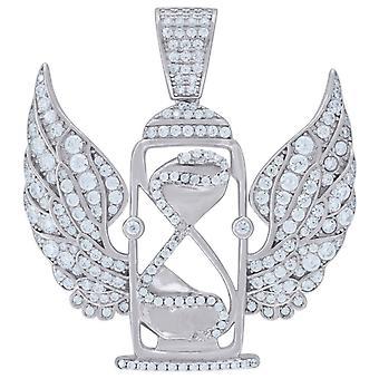 925スターリングシルバーメンズCZキュービックジルコニア砂時計天使の翼時間フライングヒップホップチャームペンダントネックレスジュエリー