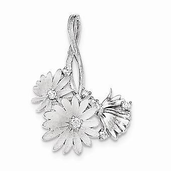 925 Sterling Argent Poli et Satin CZ Cubic Zirconia Simulated Diamond Flowers Slide Bijoux Cadeaux pour les femmes