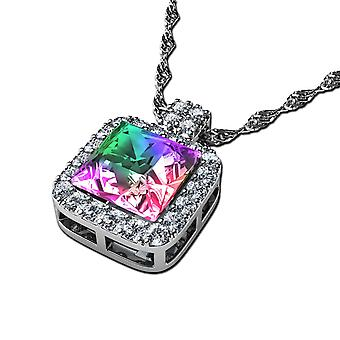 Dephini rainbow necklace - 925 sterling silver sw branded crystal