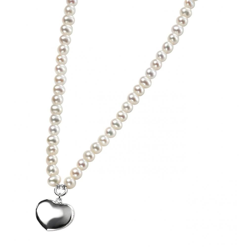 Joshua James Allure Silver Heart & Pearl Necklace