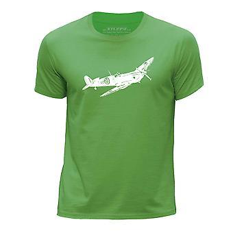 STUFF4 Boy's Round Neck T-Shirt/Aeroplane / Supermarine Spitfire/Green