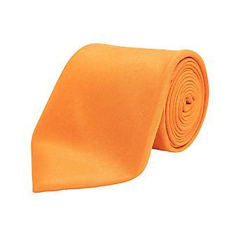 Dobell Mens Orange Tie Dupion Satin-Feel Work/Wedding