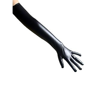 Womens Shiny Wet Look Elbow Length Long Sexy Black Gloves