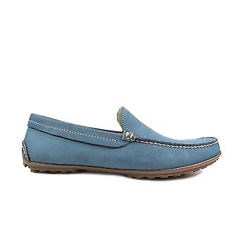 Anatomic Lucas Blue Suede Leather Mens Slip On Driver Shoes
