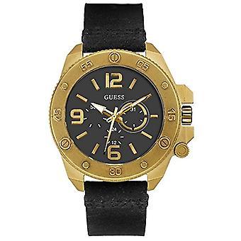 Guess leather quartz wristwatch W0659G2
