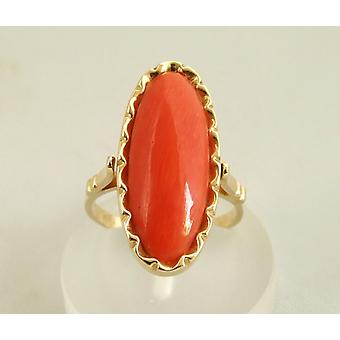 Yellow gold used car ring with blood coral