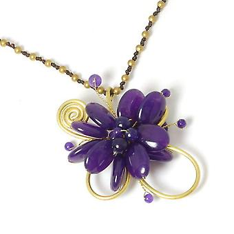 Peace of Mind Flower Burst Purple & Goldtone Bead Pendant on a 30