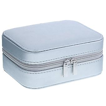 Mele - Aimee Silver PU Jewellery Box With Mirror & Compartments 5217s