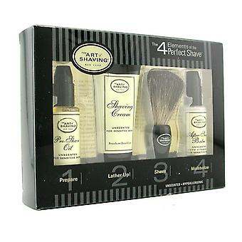 Starter Kit - Unscented: Pre Shave Oil + Shaving Cream + Brush + After Shave Balm 4pcs
