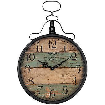 AMS 9532 wall clock quartz analog antique vintage retro shabby wood look