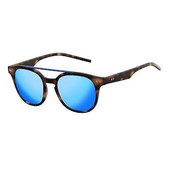 Polaroid PLD1023/S 202/JY Brown Havana/Polarised Grey-Blue Mirror Sunglasses