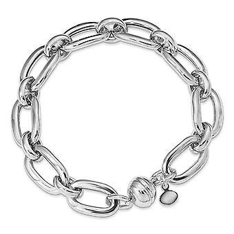 9.72mm 925 Sterling Silver Rhodium plated Polished Fancy Link Bracelet 8 Inch Jewelry Gifts for Women